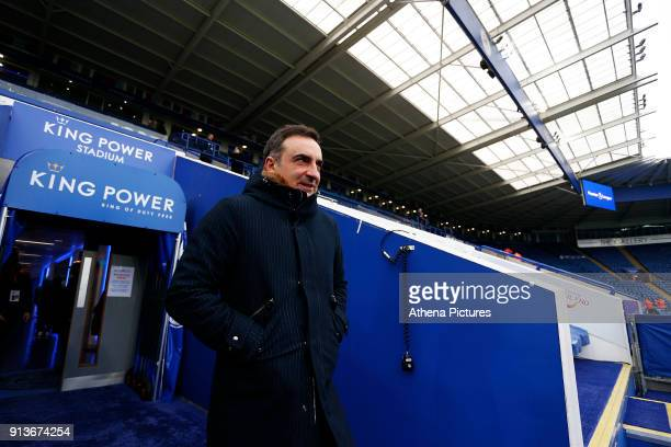 Swansea City manager Carlos Carvalhal arrives at King Power Stadium prior to kick off of the Premier League match between Leicester City and Swansea...