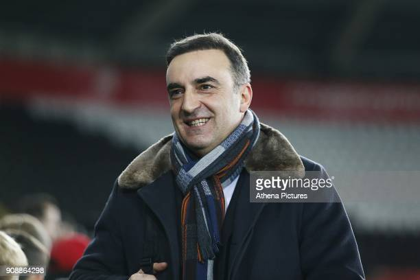Swansea City manager Carlos Carvalhal arrives at Liberty Stadium prior to kick off of the Premier League match between Swansea City and Liverpool at...