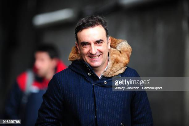 Swansea City manager Carlos Carvalhal arrives at the liberty stadium during the Premier League match between Swansea City and Burnley at Liberty...