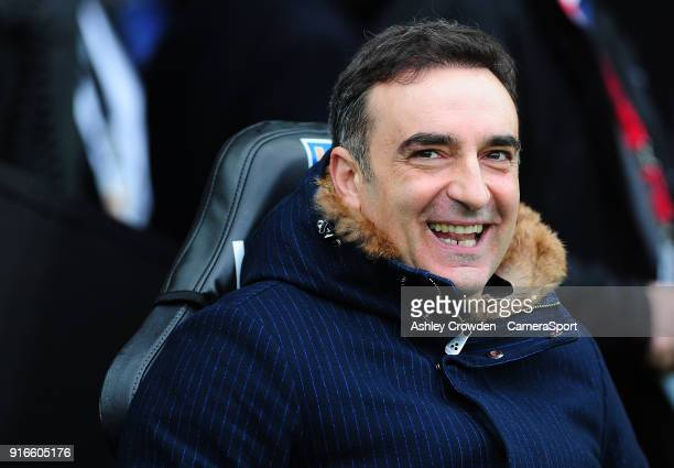 Swansea City manager Carlos Carvalhal during the Premier League match between Swansea City and Burnley at Liberty Stadium on February 10 2018 in...