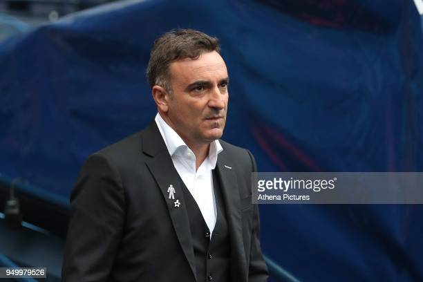 Swansea City manager Carlos Carvalhal during the Premier League match between Manchester City and Swansea City at the Etihad Stadium on April 22 2018...