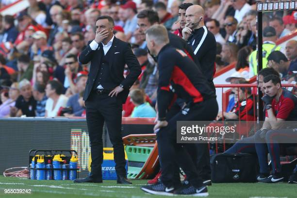 Swansea City manager Carlos Carvalhal during the Premier League match between AFC Bournemouth and Swansea City at Vitality Stadium on May 5 2018 in...