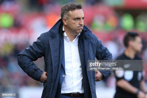 Swansea City manager Carlos Carvalhal during the Premier League match between Swansea City and Stoke City at Liberty Stadium on May 13 2018 in...