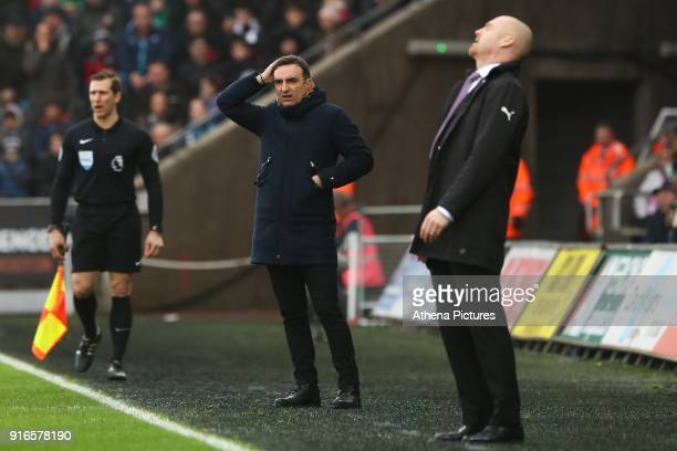 Swansea City manager Carlos Carvalhal looks confused after Aaron Lennon of Burnley tackles Martin Olsson of Swansea City and no card if given whilst...