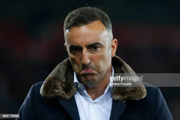Swansea City manager Carlos Carvalhal looks dejected during the Premier League match between Swansea City and Southampton at Liberty Stadium on May...