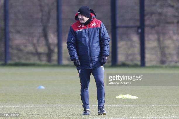 Swansea City manager Carlos Carvalhal observes his players train during the Swansea City Training at The Fairwood Training Ground on March 7 2018 in...