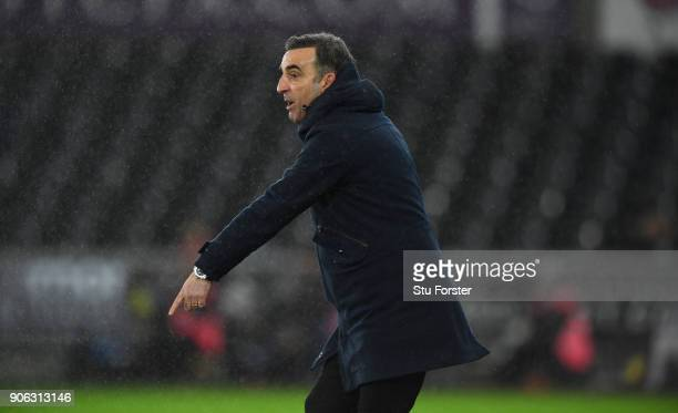 Swansea City manager Carlos Carvalhal reacts during the Emirates FA Cup third round replay between Swansea City and Wolverhampton Wanderers at...