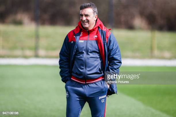 Swansea City manager Carlos Carvalhal watches the players train during the Swansea City Training at The Fairwood Training Ground on April 4 2018 in...
