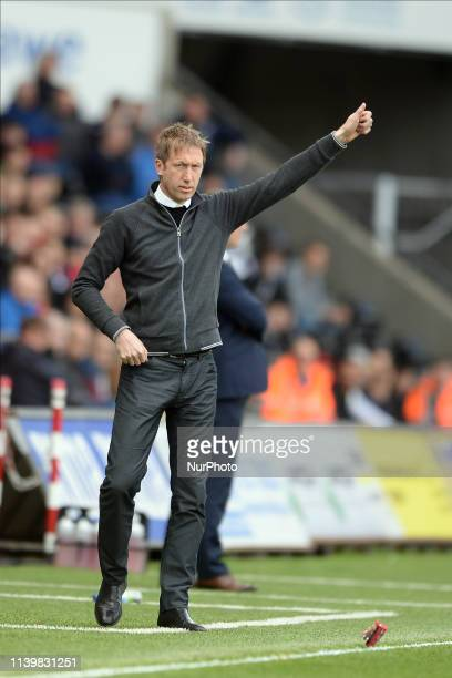Swansea City manager Graham Potter during the Sky Bet Championship match between Swansea City and Hull City at the Liberty Stadium Swansea on...
