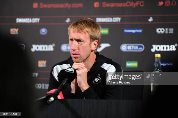 Swansea City manager Graham Potter speaks to reporters during the Swansea City FC press conference at the club's The Fairwood Training Ground on...