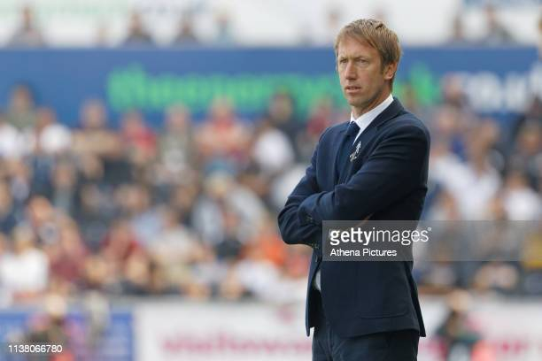 Swansea City manager Graham Potter stands on the touch line during the Sky Bet Championship match between Swansea City and Rotherham United at the...