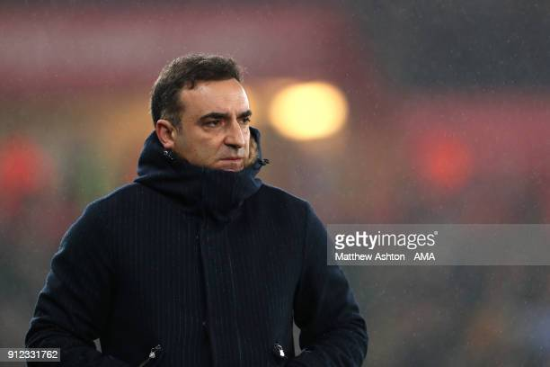Swansea City Manager / Head Coach Carlos Carvalhal looks on during the Premier League match between Swansea City and Arsenal at Liberty Stadium on...