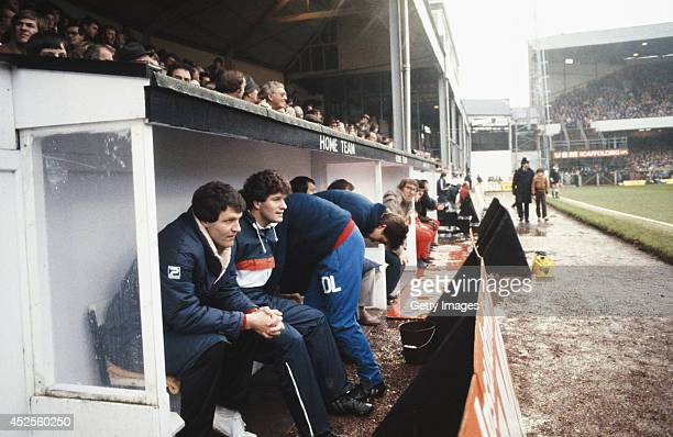 Swansea City manager John Toshack during an FA Cup 3rd Round match between Swansea City and Liverpool at the Vetch Field on January 2 1982 in Swansea...