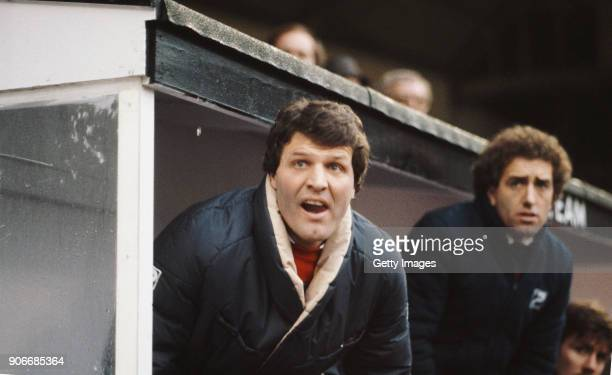 Swansea City manager John Toshack pictured on the bench during an FA Cup 3rd Round match between Swansea City and Liverpool at the Vetch Field on...