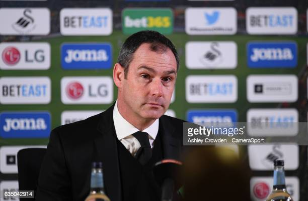 Swansea City manager Paul Clement during the post match press conference during the Premier League match between Swansea City and Leicester City at...
