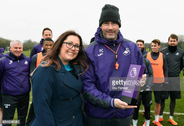 Swansea City manager Paul Clement receives his Barclays Manager of the Month award at Swansea City's training ground at Fairwood on February 9 2017...
