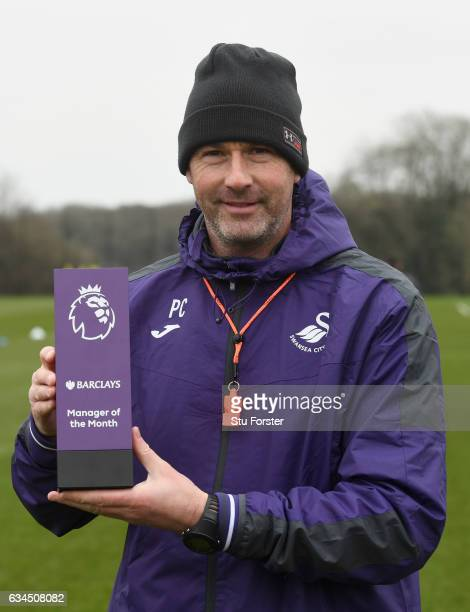 Swansea City manager Paul Clement with his Barclays Manager of the Month award at Swansea City's training ground at Fairwood on February 9 2017 in...