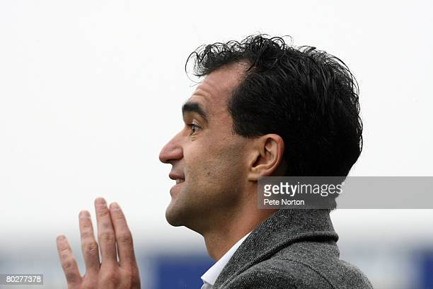 Swansea City manager Roberto Martinez gives instructions during the Coca Cola League One Match between Northampton Town and Swansea City at Sixfields...
