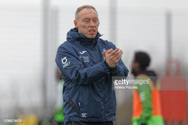 Swansea City manager Steve Cooper applauds his players during the Swansea City Training Session at The Fairwood Training Ground on March 11 2020 in...