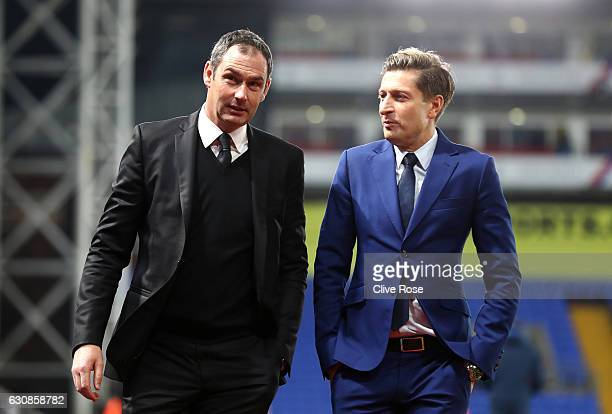 Swansea City new manager Paul Clement and Crystal Palace Chairman Steve Parish are seen prior to the Premier League match between Crystal Palace and...