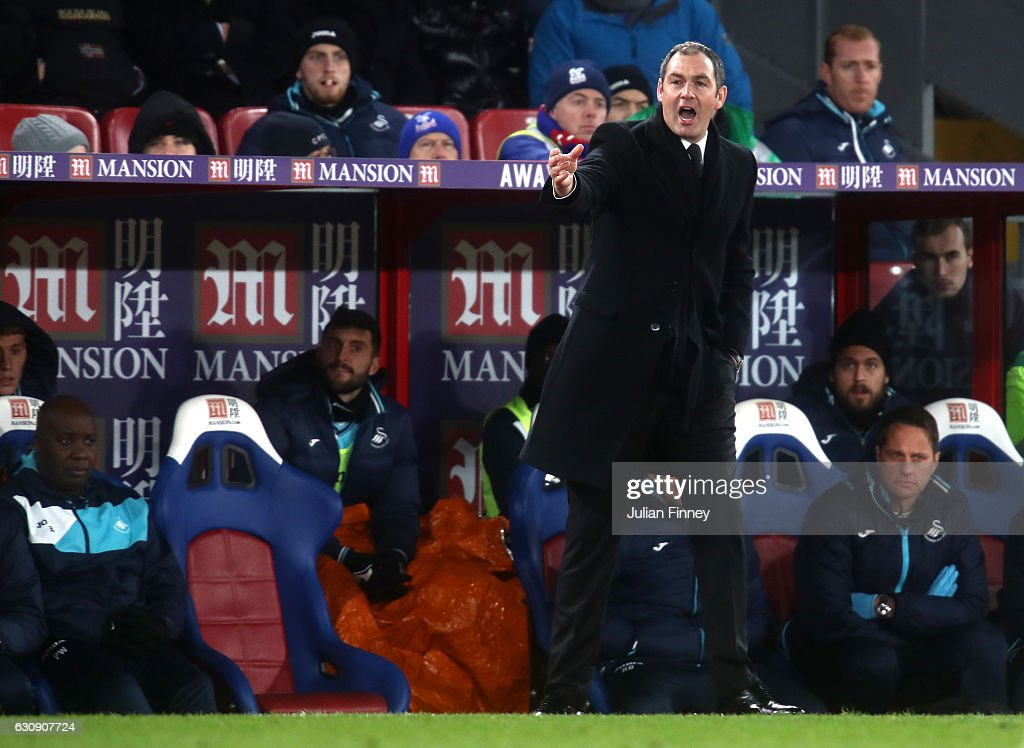 Swansea City new manager Paul Clement reacts as he stands on the touchline during the Premier League match between Crystal Palace and Swansea City at Selhurst Park on January 3, 2017 in London, England.