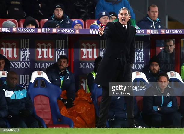 Swansea City new manager Paul Clement reacts as he stands on the touchline during the Premier League match between Crystal Palace and Swansea City at...