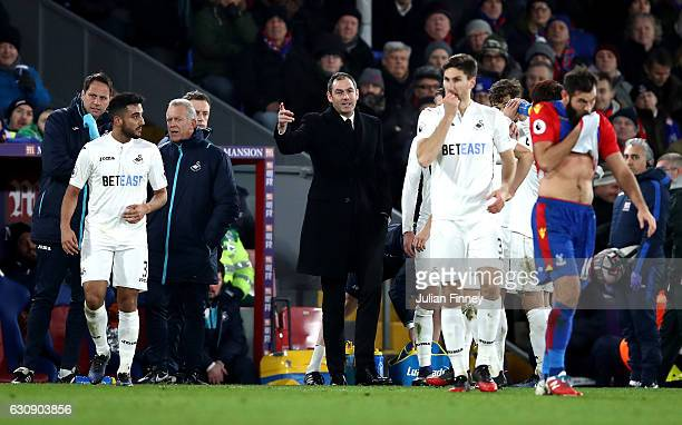 Swansea City new manager Paul Clement stands on the touchline during the Premier League match between Crystal Palace and Swansea City at Selhurst...