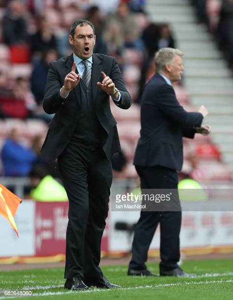 Swansea City Paul Clement reacts during the Premier League match between Sunderland and Swansea City at Stadium of Light on May 13 2017 in Sunderland...