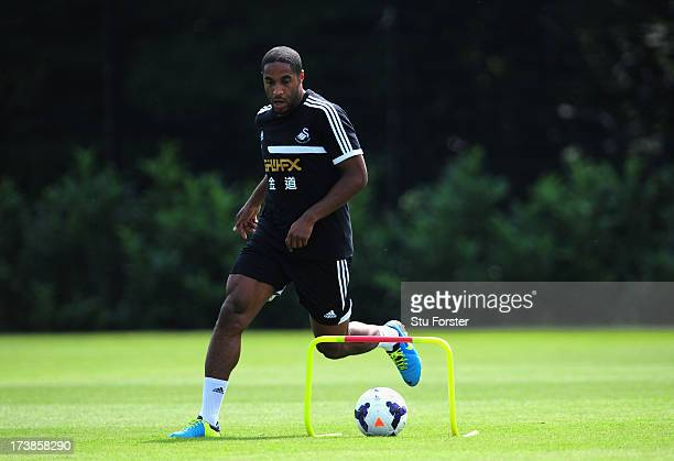 Swansea City player Ashley Williams in action during training at Landore training complex on July 18 2013 in Swansea Wales
