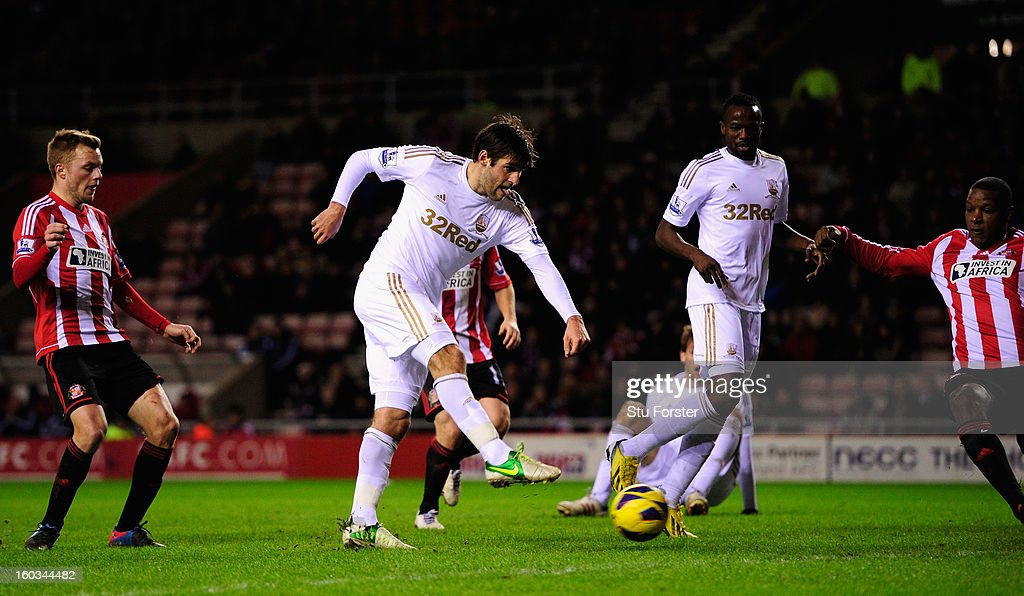 Swansea City player Danny Graham (c) is denied a goal in the last minute of the game during the Barclays Premier League match between Sunderland and Swansea City at Stadium of Light on January 29, 2013 in Sunderland, England.