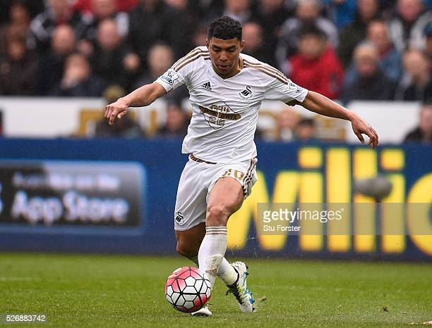 Swansea City player Jefferson Montero in action during the Barclays Premier League match between Swansea City and Liverpool at The Liberty Stadium on...