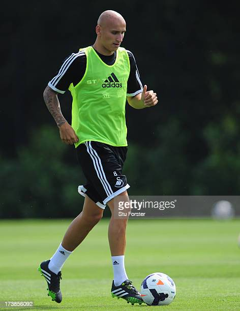 Swansea City player Jonjo Shelvey in action during training at Landore training complex on July 18 2013 in Swansea Wales