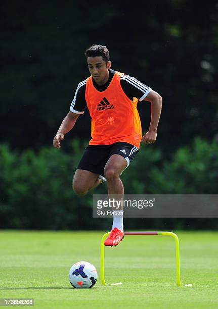 Swansea City player Neil Taylor in action during training at Landore training complex on July 18 2013 in Swansea Wales