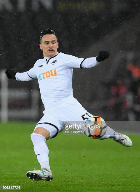 Swansea City player Roque Mesa in action during the Emirates FA Cup third round replay between Swansea City and Wolverhampton Wanderers at Liberty...