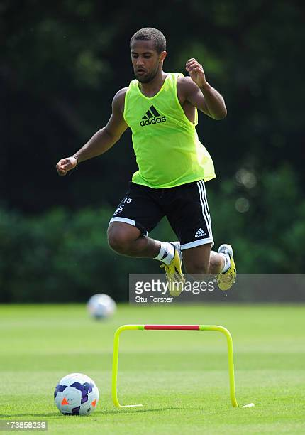 Swansea City player Wayne Routledge in action during training at Landore training complex on July 18 2013 in Swansea Wales