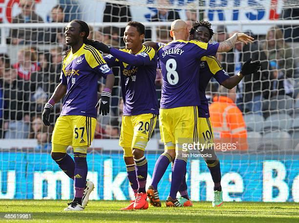 Swansea City players Kyle Bartley Jonathan De Guzman Jonjo Shelvey and goalscorer Wilfried Bony celebrate after the winning goal during the Barclays...