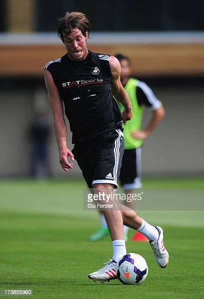 Swansea City striker Michu in action during training at Landore training complex on July 18 2013 in Swansea Wales