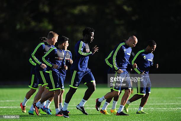Swansea City striker Wilfried Bony and team mates in action during Swansea City training ahead of their Europa League match against Kuban tomorrow...