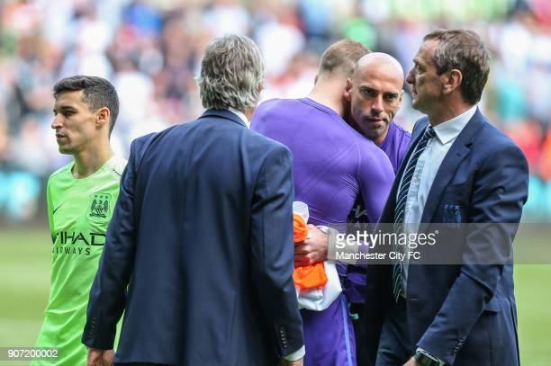Swansea City v Manchester City Barclays Premier League Liberty Stadium Manchester City's Jesus Navas Manuel Pellegrini Joe Hart Willy Caballero after...