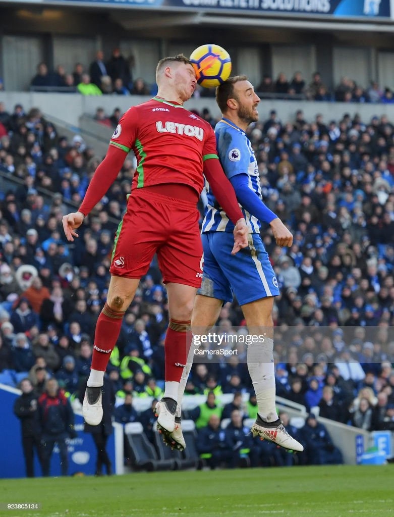 Swansea City's Alfie Mawson (left) battles with Brighton & Hove Albion's Glenn Murray (right) during the Premier League match between Brighton and Hove Albion and Swansea City at Amex Stadium on February 24, 2018 in Brighton, England.