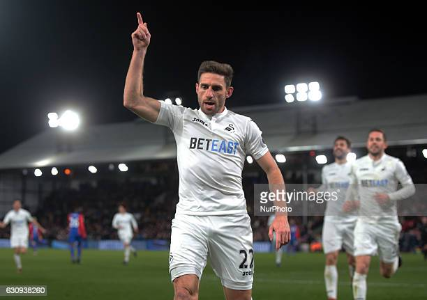 Swansea City's Angel Rangel celebrates the winning goal during the Premier League match between Crystal Palace and Swansea City at Selhurst Park...