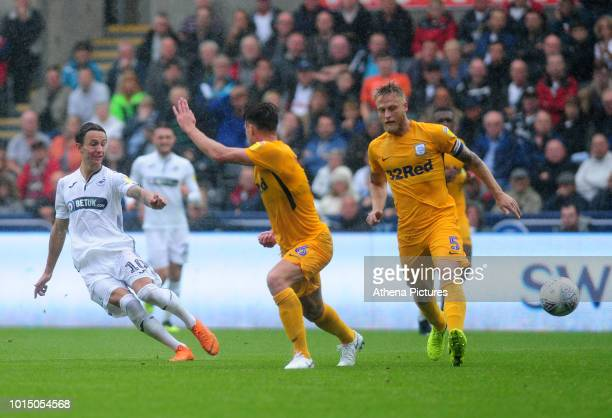 Swansea City's Bersant Celina has a shot at goal during the Sky Bet Championship match between Swansea City and Preston North End at the Liberty...