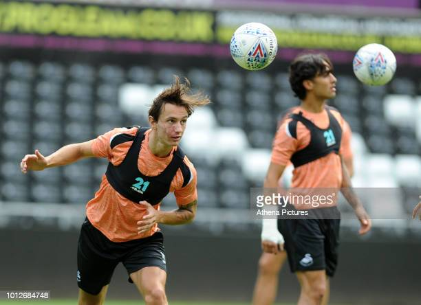 Swansea City's Bersant Celina in action during the Swansea City Training at The Liberty Stadium on August 7 2018 in Swansea Wales
