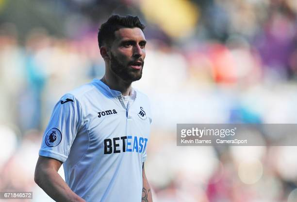 Swansea City's Borja Baston during the Premier League match between Swansea City and Stoke City at Liberty Stadium on April 22 2017 in Swansea Wales