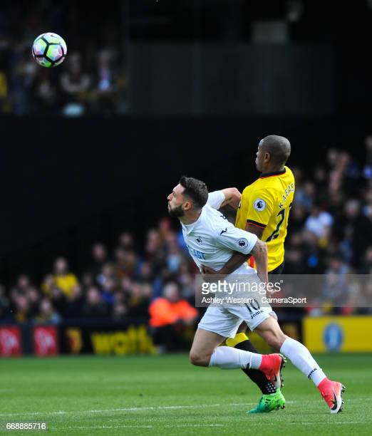 Swansea City's Borja Gonzalez battles for possession with Watford's Christian Kabasele during the Premier League match between Watford and Swansea...