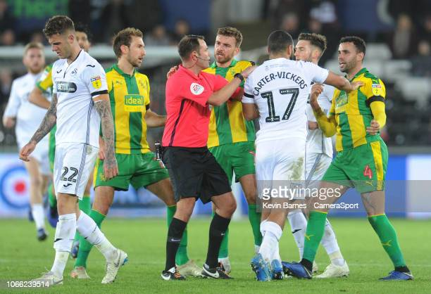 Swansea City's Cameron Carter-Vickers remonstrates with West Bromwich Albion's Hal Robson-Kanu during an altercation during the Sky Bet Championship...