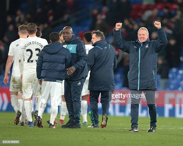 Swansea City's caretaker manager Alan Curtis during the Premier League match between Crystal Palace and Swansea City at Selhurst Park, London,...