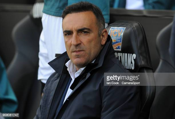 Swansea City's caretaker playermanager Carlos Carvalhal prior to kick off during the Premier League match between Swansea City and Stoke City at...