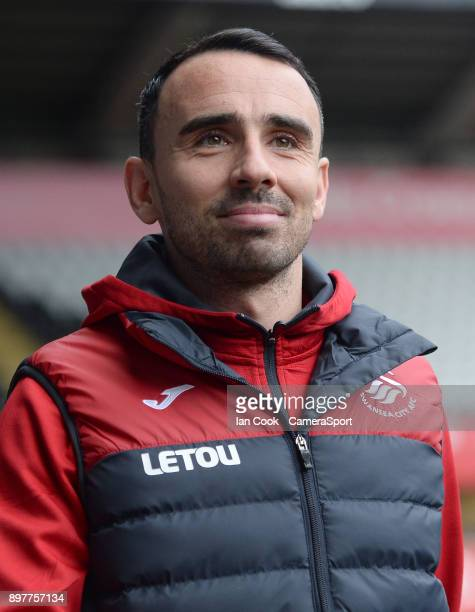 Swansea City's caretaker playermanager Leon Britton arrives at the Liberty Stadium ahead of Swansea's clash with Crystal Palace during the Premier...