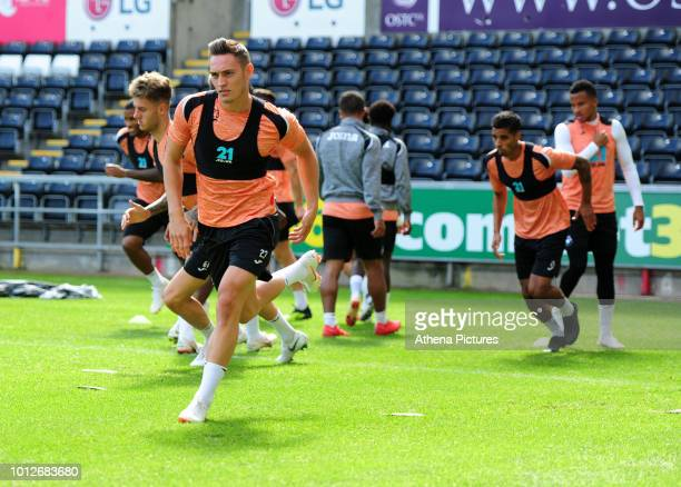 Swansea City's Connor Roberts during the Swansea City Training at The Liberty Stadium on August 7 2018 in Swansea Wales